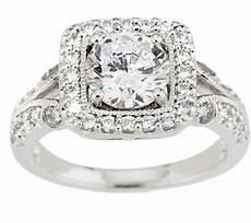 diamonique with cushion halo milgrain ring platinum clad page 1 qvc com