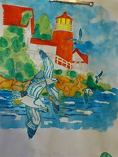 Aquarell Malvorlagen Coloring Tutorial Watercolor Marine Landscape By
