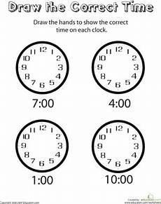 worksheet for kindergarten about time 3598 analog clocks draw the time belajar dapat dicetak