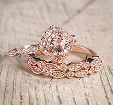 2 carat morganite and diamond trio wedding bridal ring in 10k rose gold with one engagement