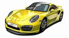 Realistic Car Drawing Porsche 911 Turbo S 991 Time