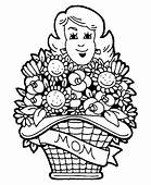 Mothers Day Basket Of Flowers Coloring Pages  Best Place