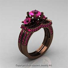 exclusive 14k chocolate brown gold three stone pink