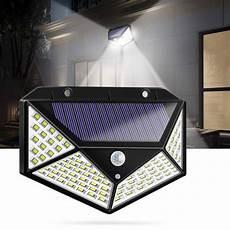100 led solar powered 600lm pir motion sensor wall light