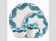 Elama Seashore Breeze 16 Piece Blue Dinnerware Set