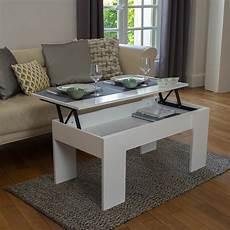 table basse avec plateau relevable bois blanc laqu 233