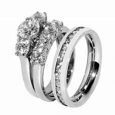his hers 3 pcs stainless steel womens wedding ring and mens clear cz band ebay