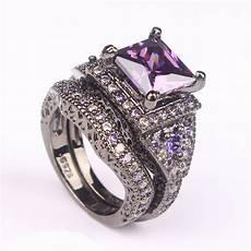 2016 black ring sets black gun color zircon pink purple fashion finger rings new design