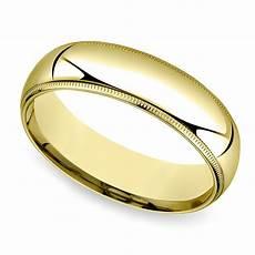 mid weight milgrain men s wedding ring in yellow gold 6mm