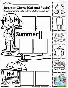 seasons worksheets cut and paste 14760 summer items cut and paste each item to the correct spot such a preschool activity to help