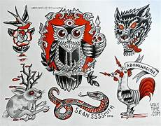 redand black tattoo flash 2 by creaturetown on deviantart