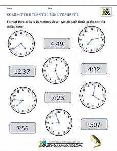 converting analogue to digital time worksheets clock worksheet correct the time to 1 minute 1