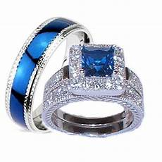 buy his hers 3 piece wedding ring sapphire blue cz sterling silver wedding rings by edwin