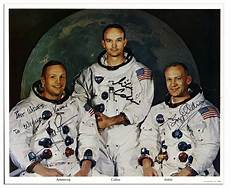 lot detail apollo 11 crew signed 10 8 photo neil armstrong buzz aldrin michael collins