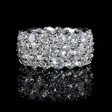 11 91ct diamond three row 18k white gold eternity wedding