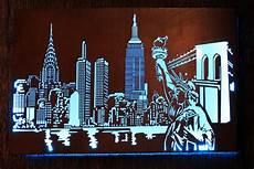 laser cut new york skyline metal art design with internal led lighting light box for