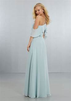 chiffon bridesmaids dress with flounced neckline style 21551 morilee