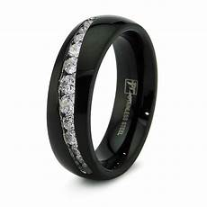 stainless steel cz channel mens black wedding band ring 7mm free engraving ebay