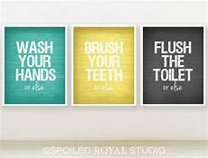 Etsy Yellow And Gray Bathroom by Or Else Bathroom Prints 8x10 Set Of 3 You Can Choose