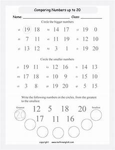 comparing and ordering numbers up to 20 circle the bigger