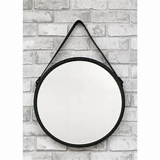 wandspiegel spiegel schwarz rund mit eco leder g 252 rtel zum