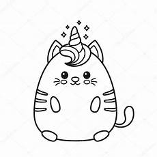 lindo gato de unicornio sonriente feliz vector de stock