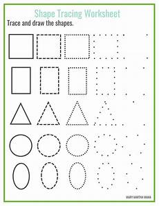 drawing shapes worksheets 1081 shape tracing martha