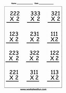 single digit vertical multiplication without regrouping multiplication 6 worksheets printable worksheets