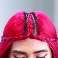 braided middle part headband top knot flechtfrisuren