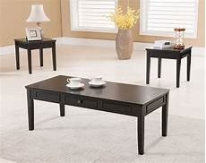 3 pc kings brand black finish coffee table 2 end