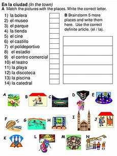 community places worksheets for kindergarten in the town y6 spanish by rhawkes teaching 375 215 500