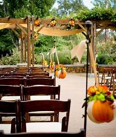beautiful outdoor wedding ceremony during fall with