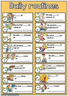 daily routines telling the time interactive worksheet