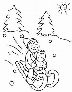 advent kinder beim schlittenfahren zum ausmalen