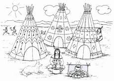 Ausmalbild Indianer Am Lagerfeuer Indianer Ausmalblock