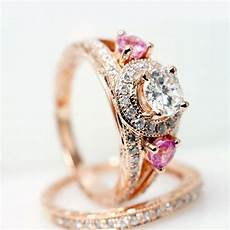 vintage style 14k rose gold diamond engagement ring w pink sapphire side stones matching