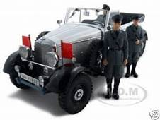 1938 Mercedes G4 White With 3 Figurines 1/18 Diecast Model