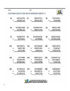 printable addition worksheets 5th grade