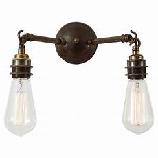 brass bare bulb wall light fitting vintage industrial styling