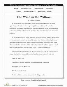 worksheets activities for the wind and the willows punctuation the wind in the willows worksheet education com