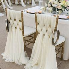 2017 ivory chiffon chair sashes wedding party deocrations bridal chair covers sash bow custom