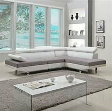 2 piece modern contemporary white faux leather sectional