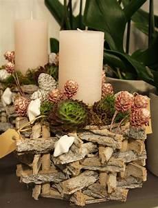 Adventsgesteck Aus Naturmaterialien Mit Sukkulenten