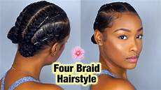 simple four braid hairstyle for natural hair