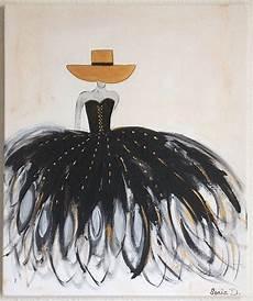 peinture femme moderne tableau moderne femme robe noir et or tableau contemporain femme peintures par