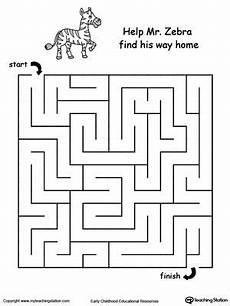 motor skills maze worksheets 20676 zebra maze motor skills tracing maze worksheet printable mazes maze