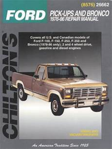 free online auto service manuals 1986 ford bronco seat position control chilton ford pick ups and bronco 1976 1986 repair manual