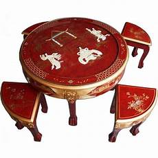 table basse chinoise table basse ronde chinoise 4 tabourets laque