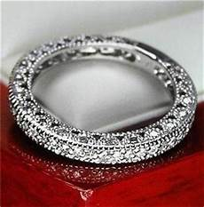 unique vintage genuine diamond wedding band ring for women 14k solid white gold ebay