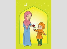 Mother And Daughter Muslim In Head Scarf Stock Vector
